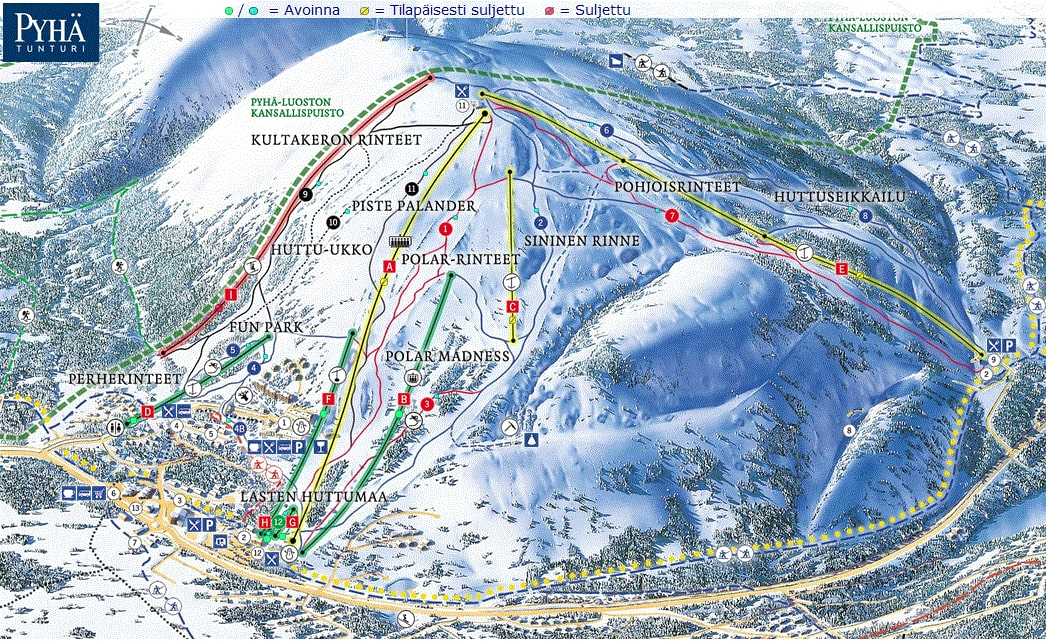 Pyhä Ski Resort Piste / Trail Map