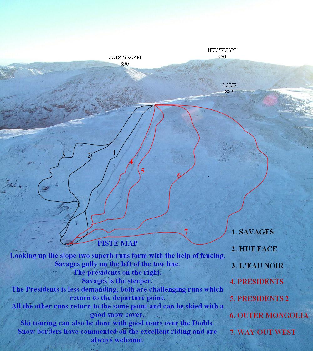 Raise (Lake District Ski Piste / Trail Map