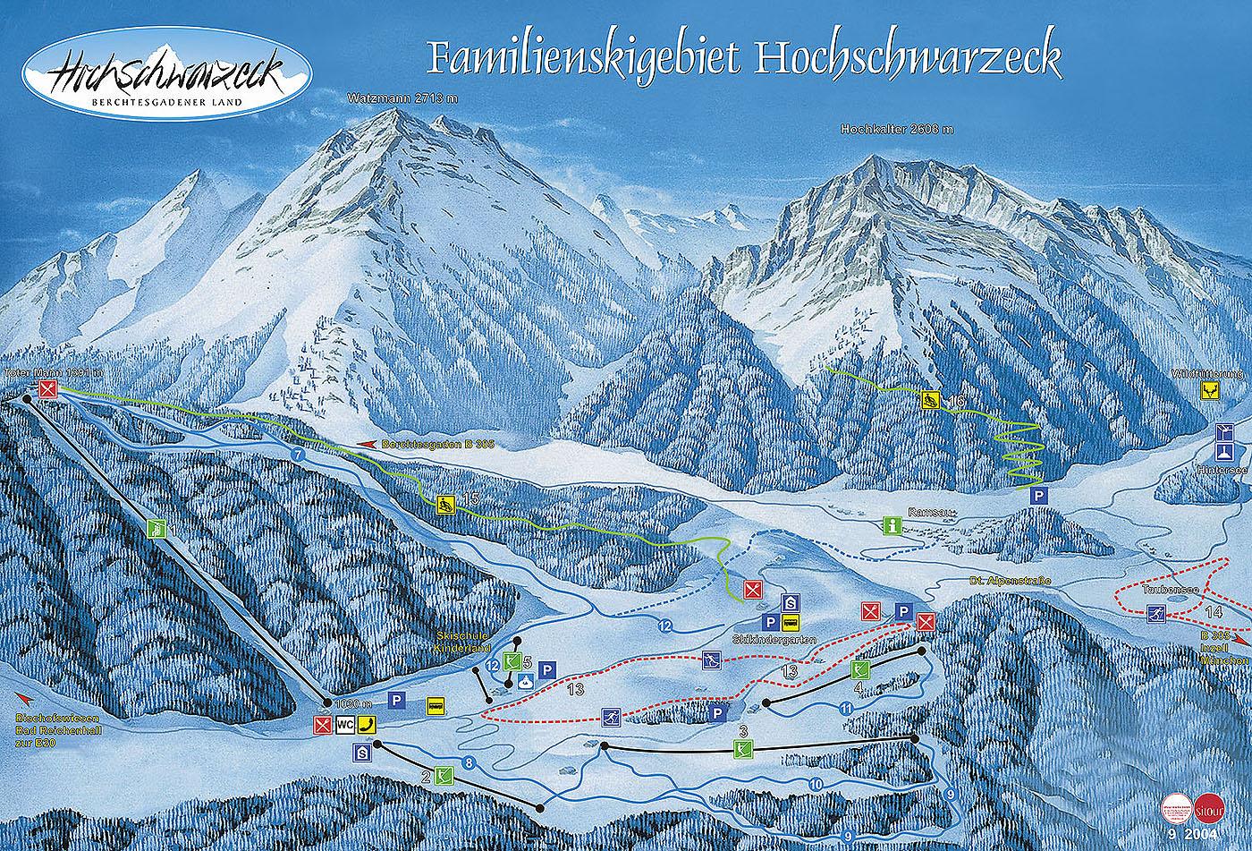 Ramsau/Hochschwarzeck Piste / Trail Map