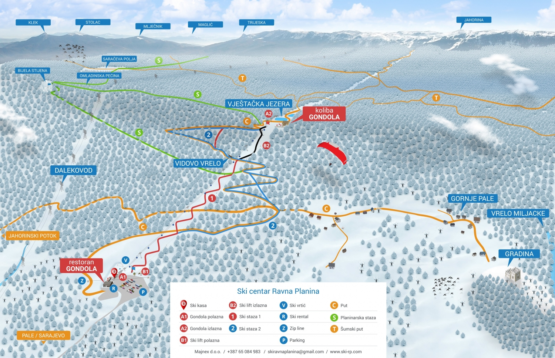Ravna Planina Piste / Trail Map