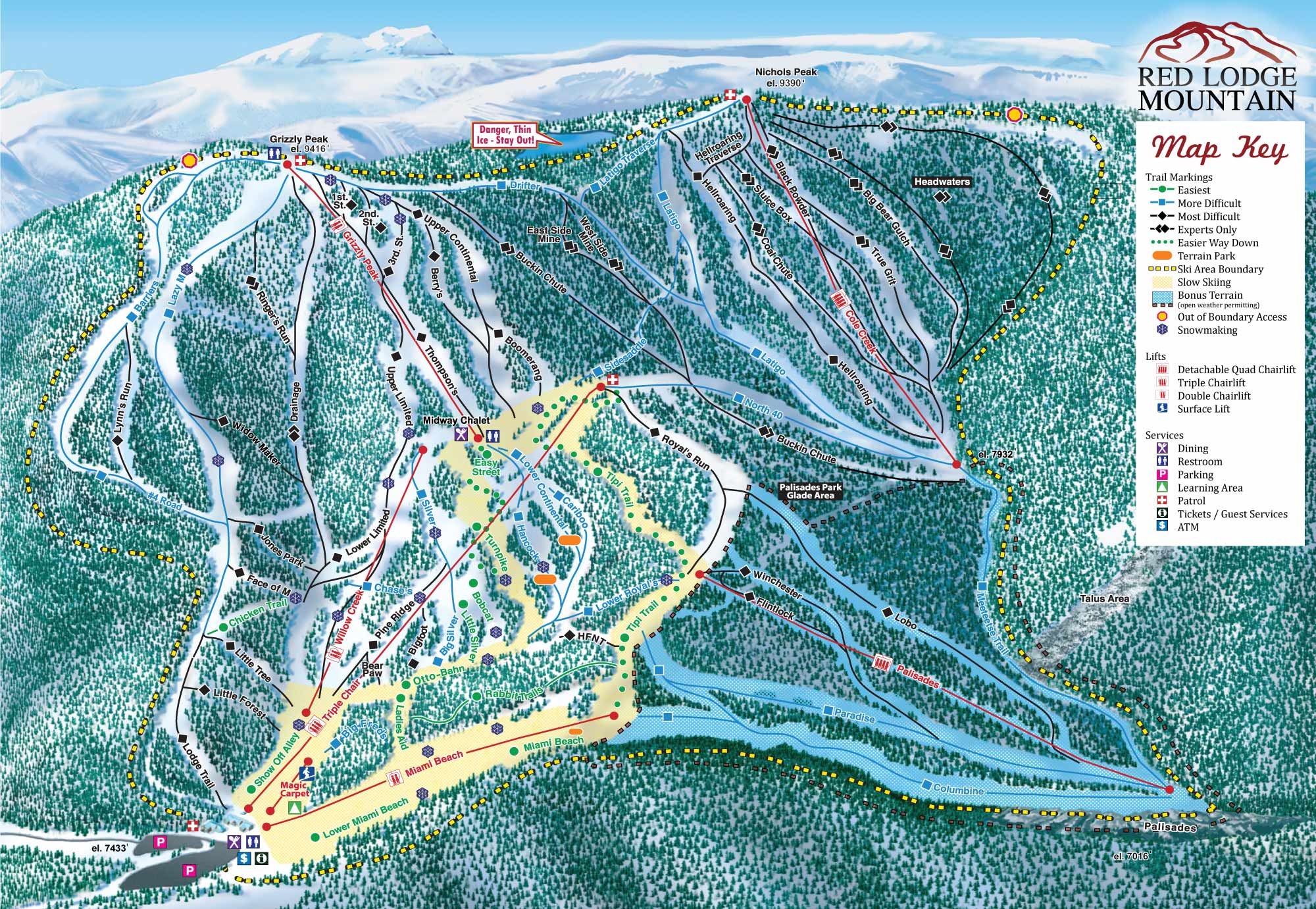 Red Lodge Mountain Piste / Trail Map