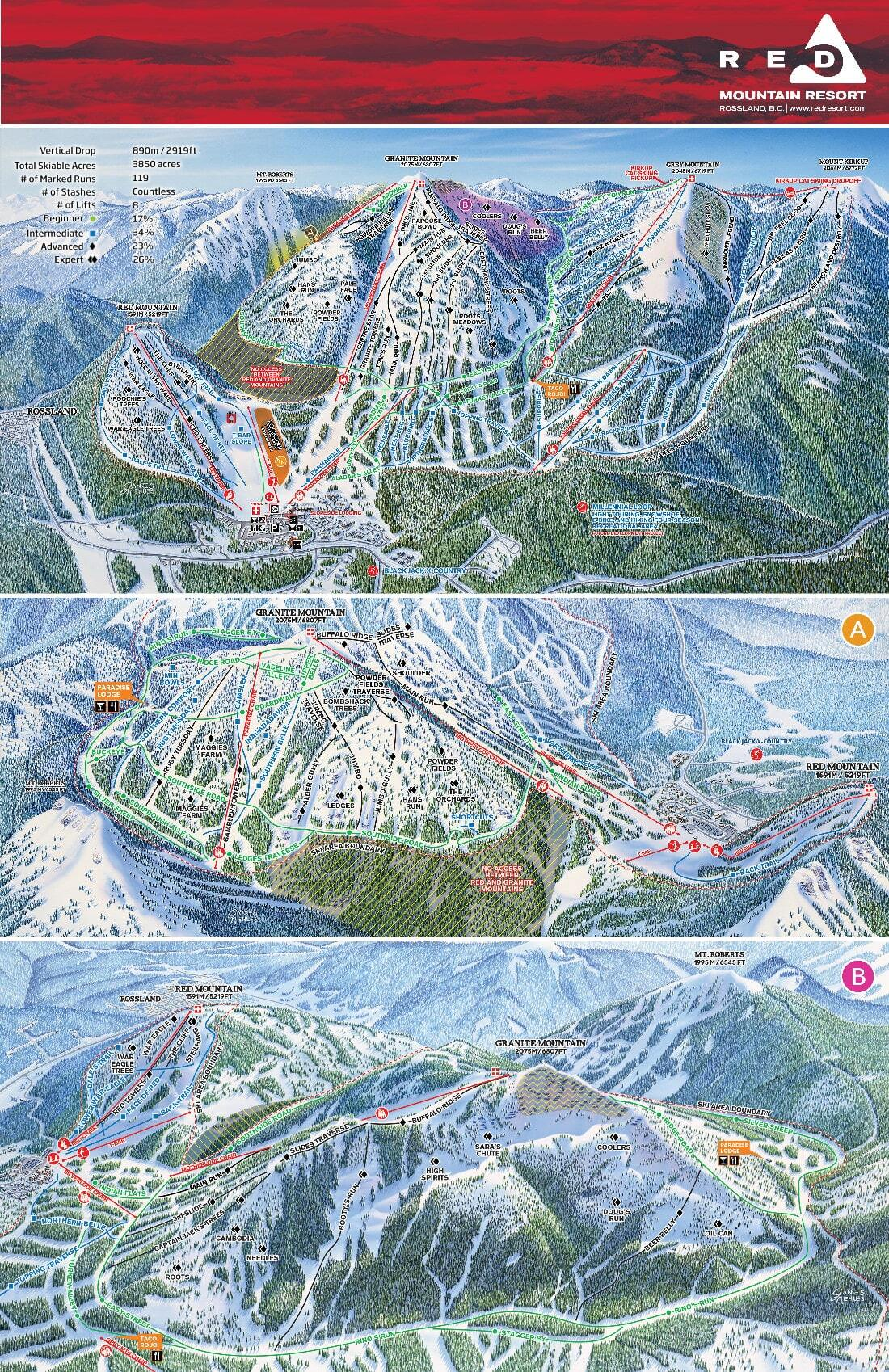 Red Mountain Resort Piste / Trail Map