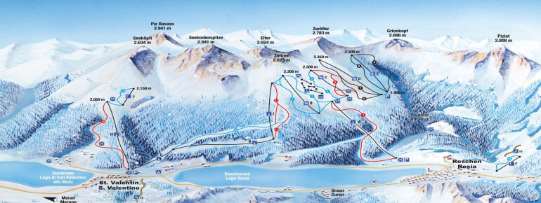 Reschen/Schöneben Piste / Trail Map
