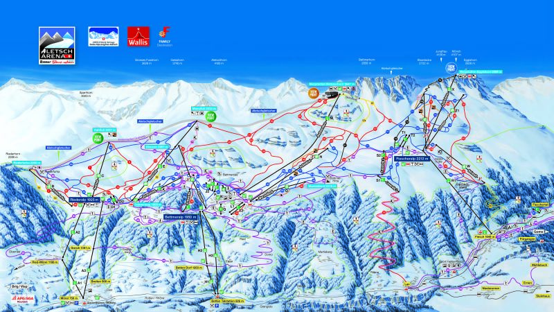 Riederalp - Aletsch Piste / Trail Map
