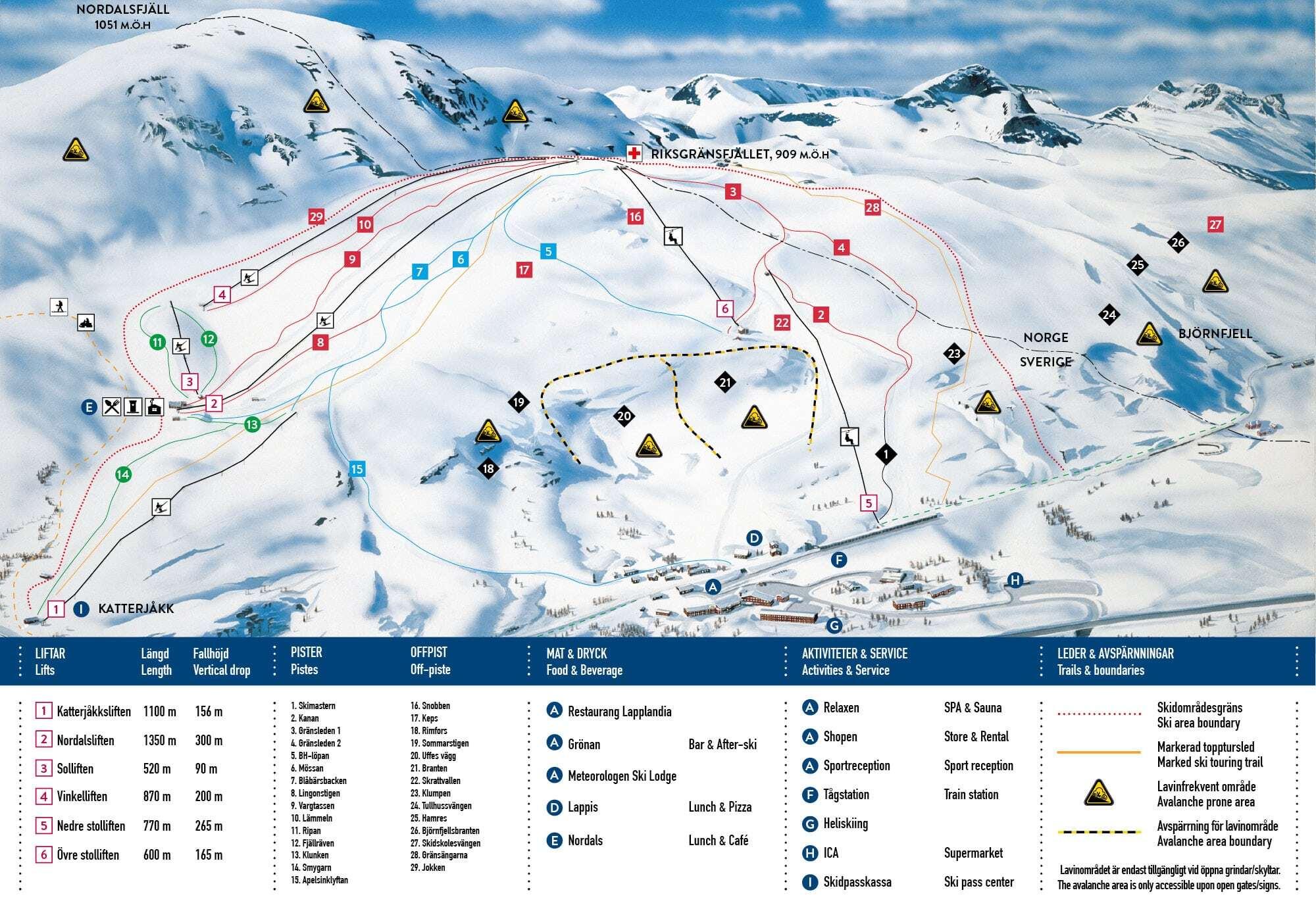 Riksgränsen Piste / Trail Map
