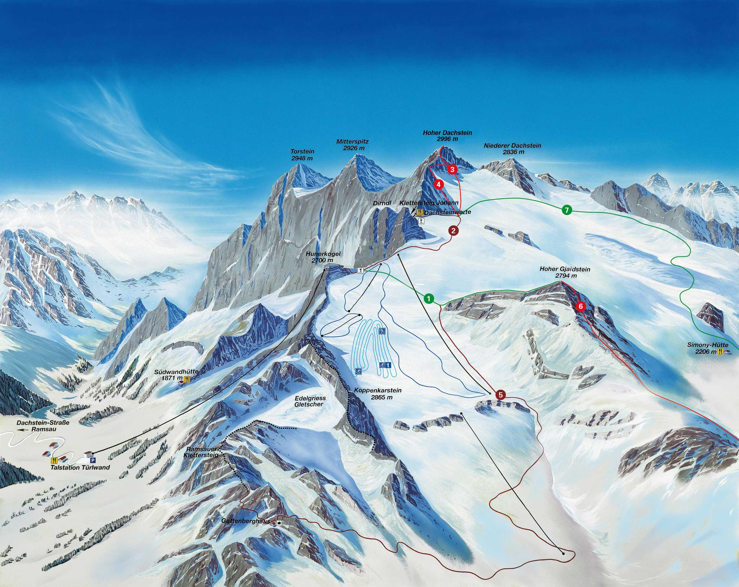 Rohrmoos Piste / Trail Map