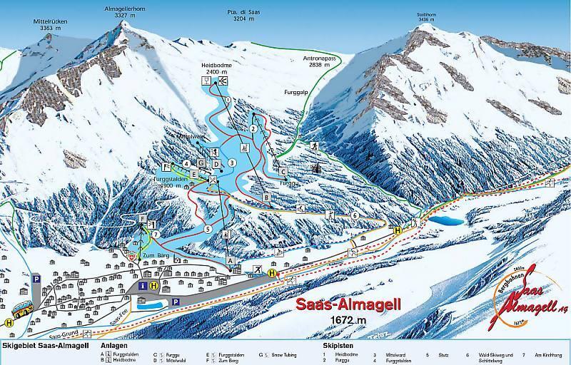 Saas Almagell Piste / Trail Map