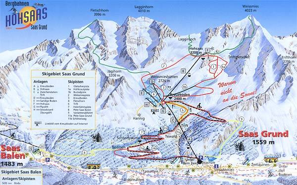 Saas Grund Piste / Trail Map