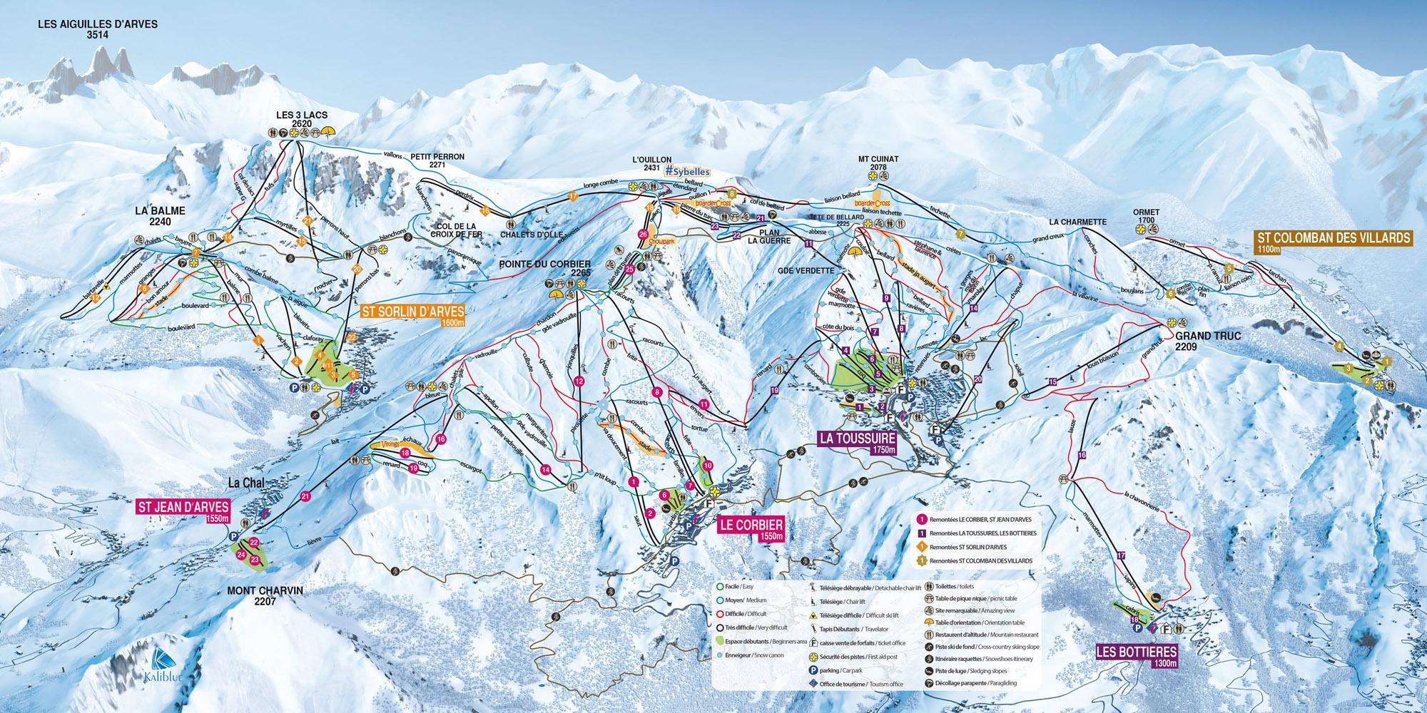 Saint-Sorlin d'Arves (Les Sybelles) Piste / Trail Map