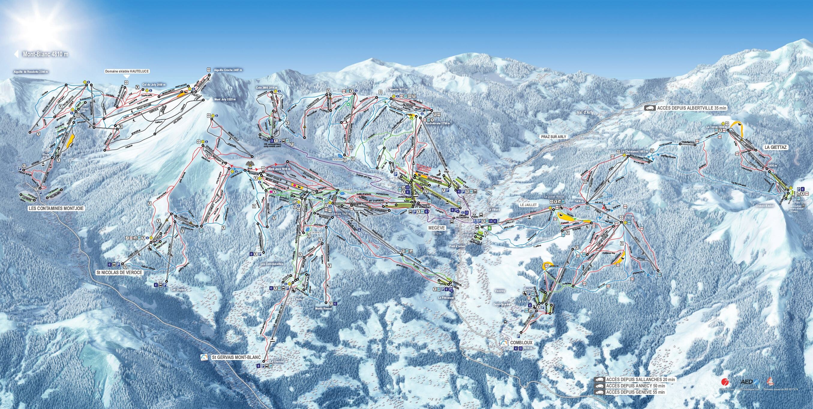 Saint Gervais Piste / Trail Map