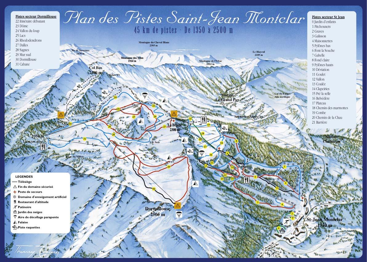 Saint Jean Montclar Piste / Trail Map