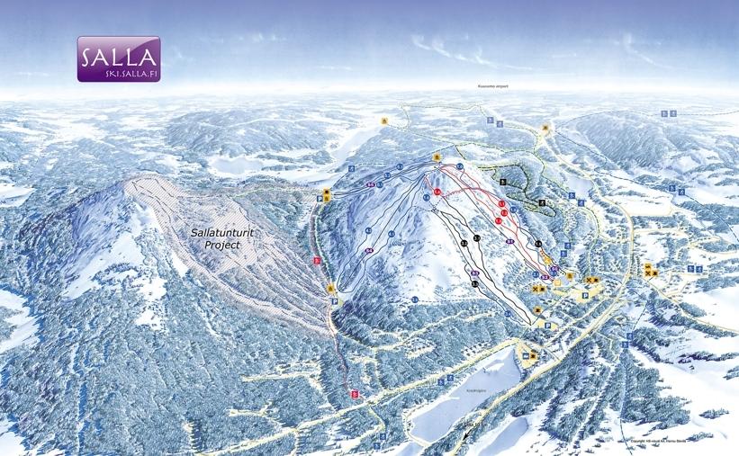 Salla Ski Resort Piste / Trail Map