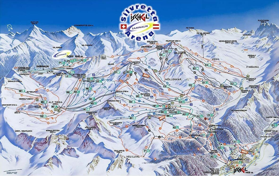 Samnaun Piste Map Trail Map