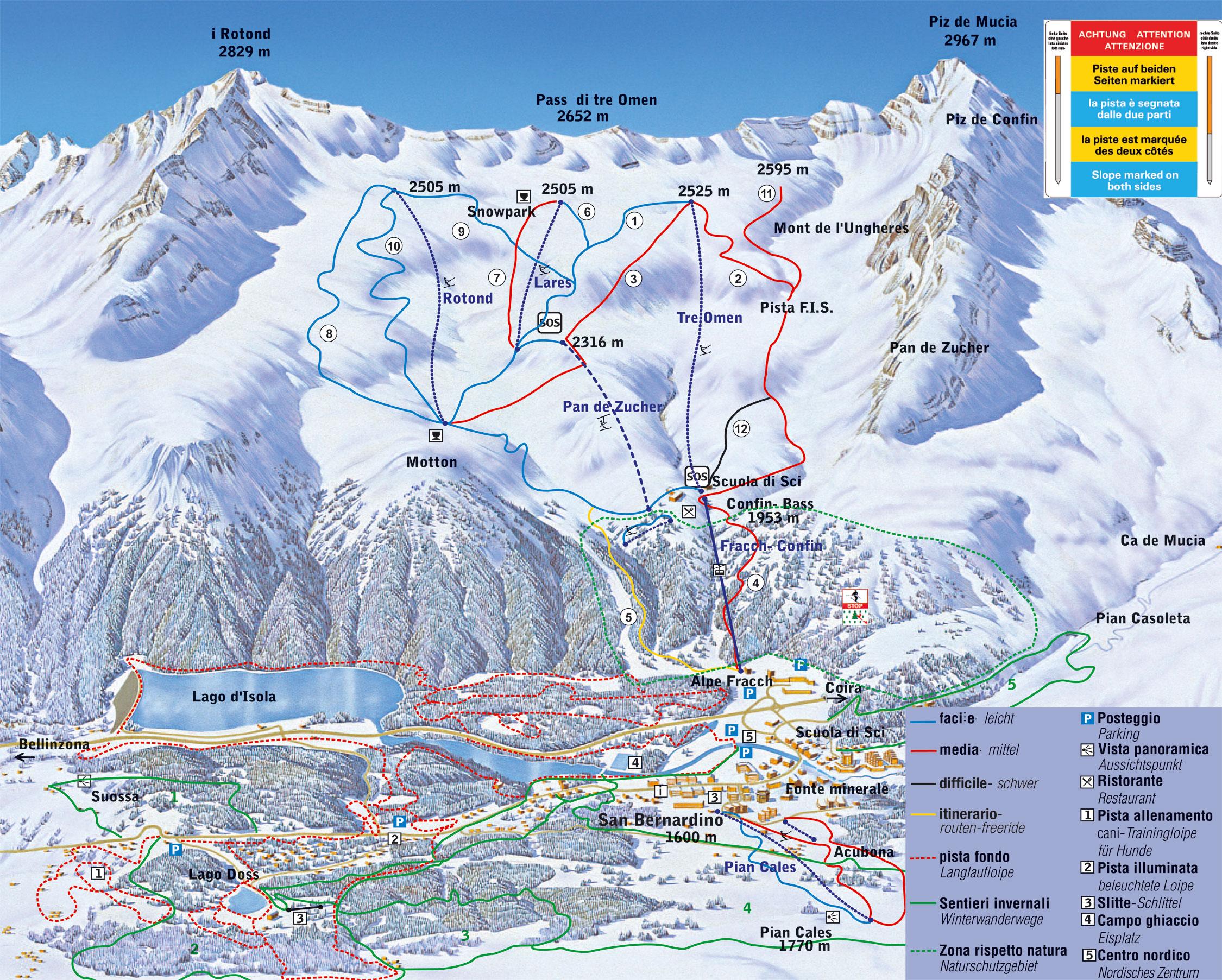 San Bernardino Piste / Trail Map