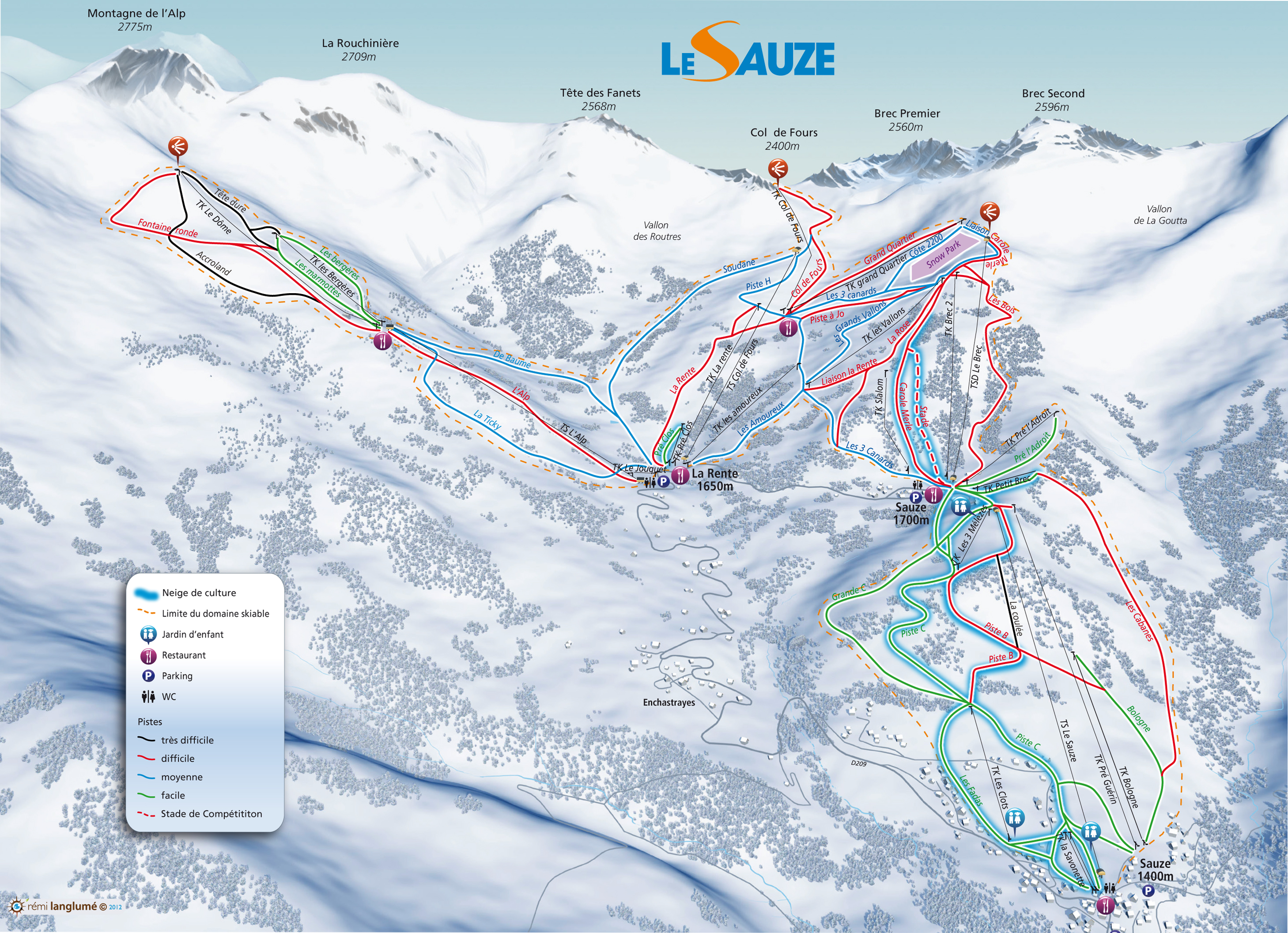Sauze Super-Sauze Piste / Trail Map