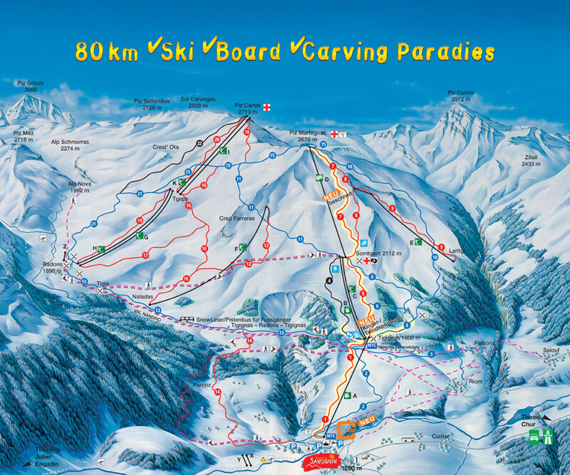 Savognin Piste Map Trail Map