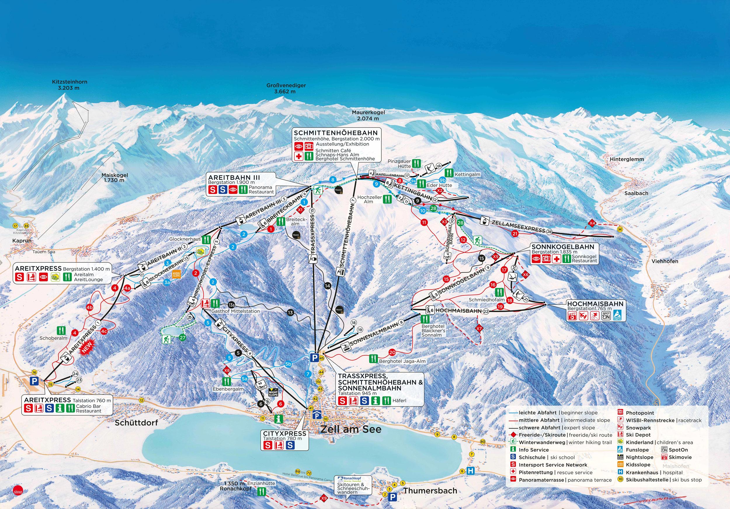 Schmittenhöhe Piste / Trail Map