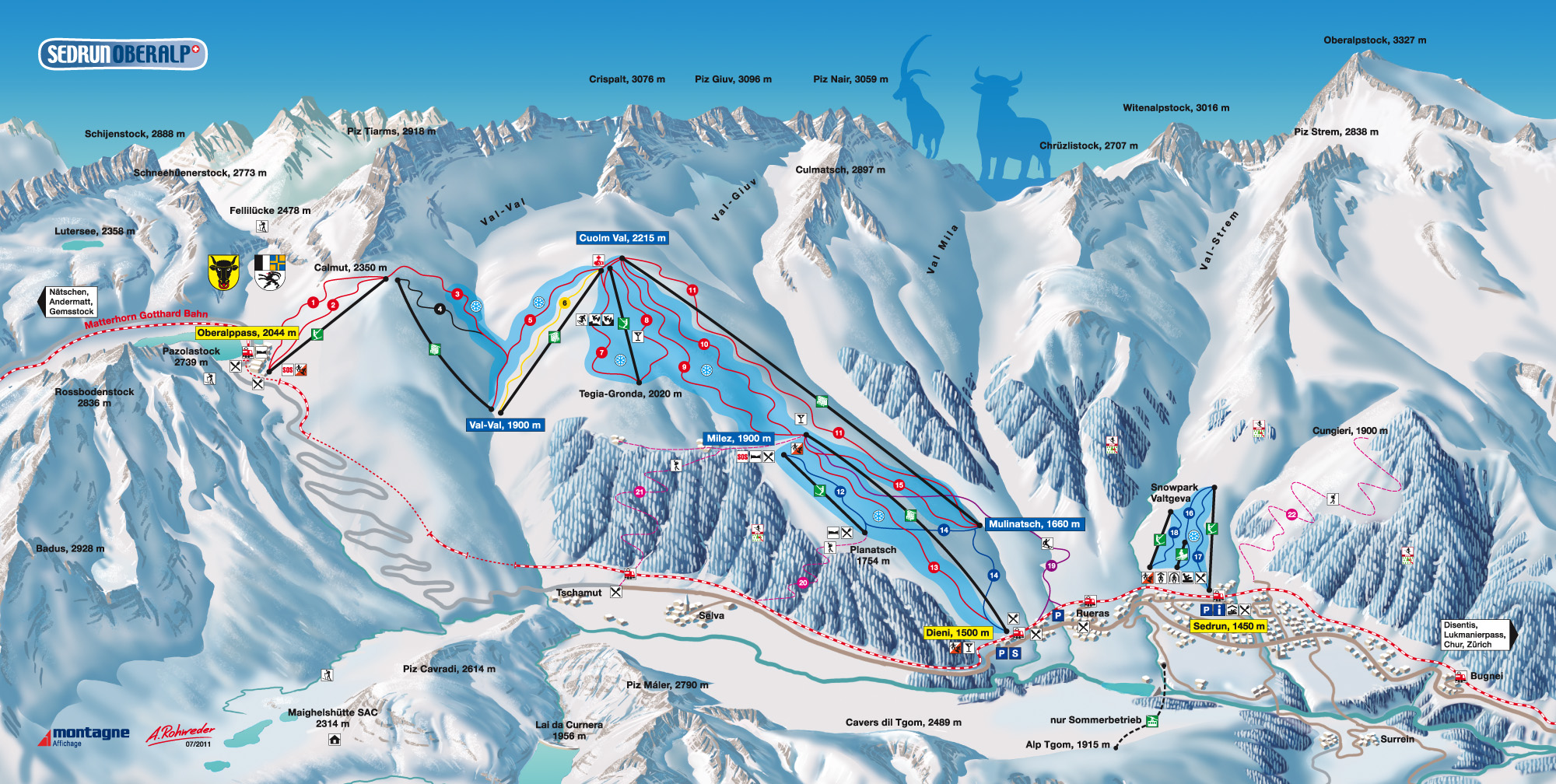 Sedrun Oberalp Piste Map Trail Map high res