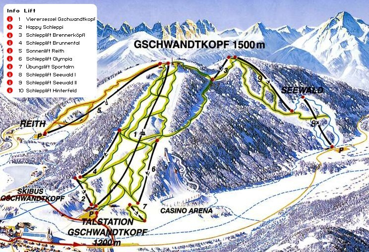 Seefeld-Reith/Gschwandtkopf Piste / Trail Map