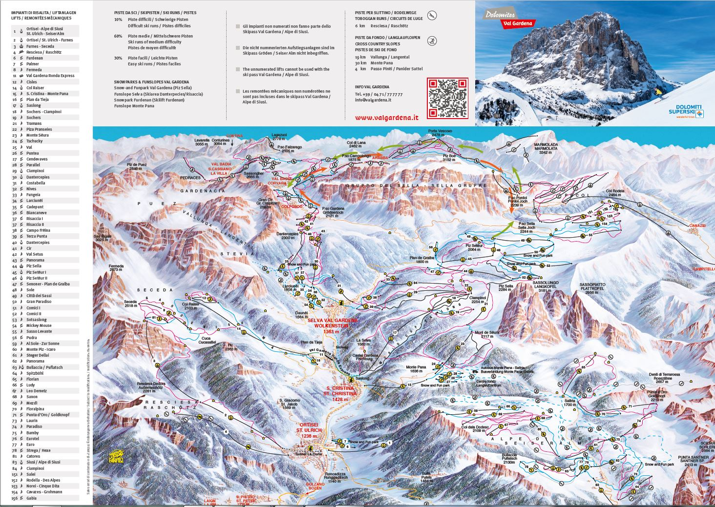 Val Gardena Piste / Trail Map