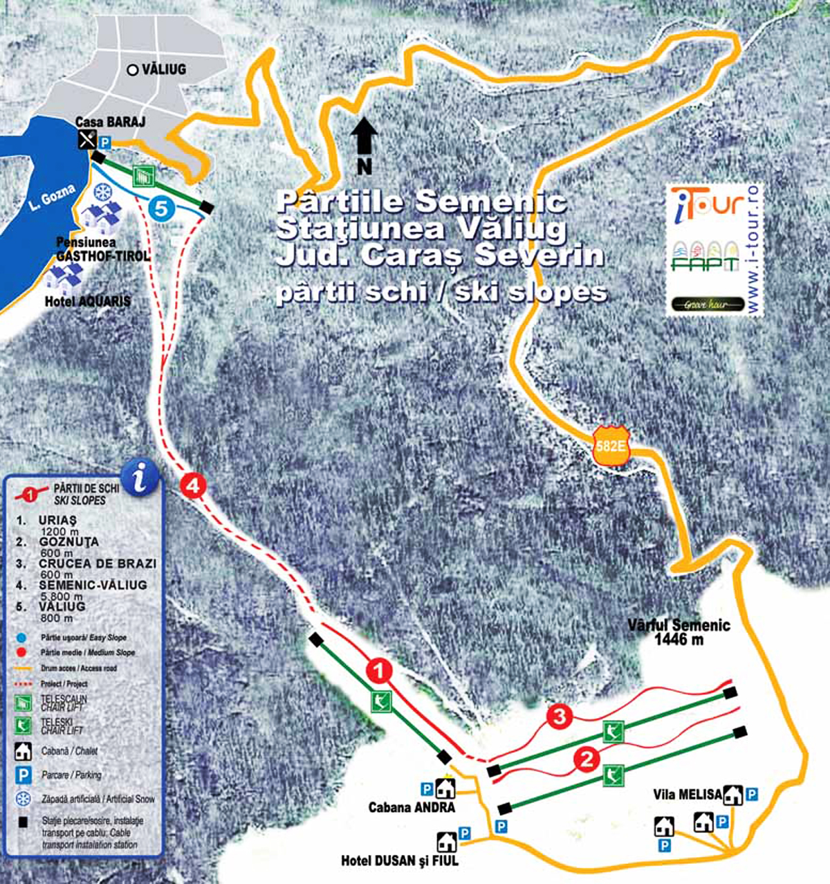 Semenic Piste / Trail Map