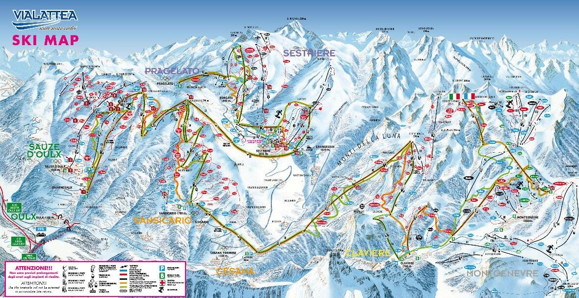 Sestrire Via Lattea Piste Map Trail Map