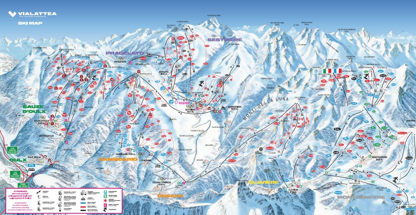 Sestrière (Via Lattea) Piste / Trail Map