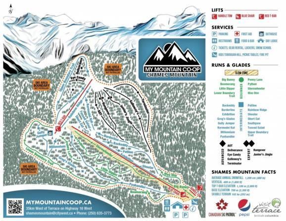 Shames Mountain Piste / Trail Map