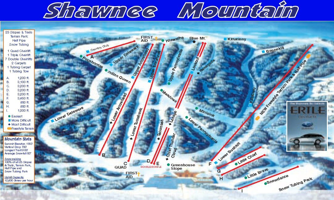 Shawnee Mountain Ski Area Ski Resort Guide, Location Map ... on pats peak trail map, shawnee peak night skiing, medicine bow peak trail map, greek peak trail map, diamond peak trail map, shawnee peak tickets, sandia peak trail map, shawnee mountain trail map, shawnee state park trail map, kingston peak trail map, wheeler peak trail map, granite peak trail map, wilson peak trail map, shawnee snowboarding, cloud peak trail map, squaw peak hiking trail map, jiminy peak trail map, piestewa peak trail map, shawnee cattle trail map,