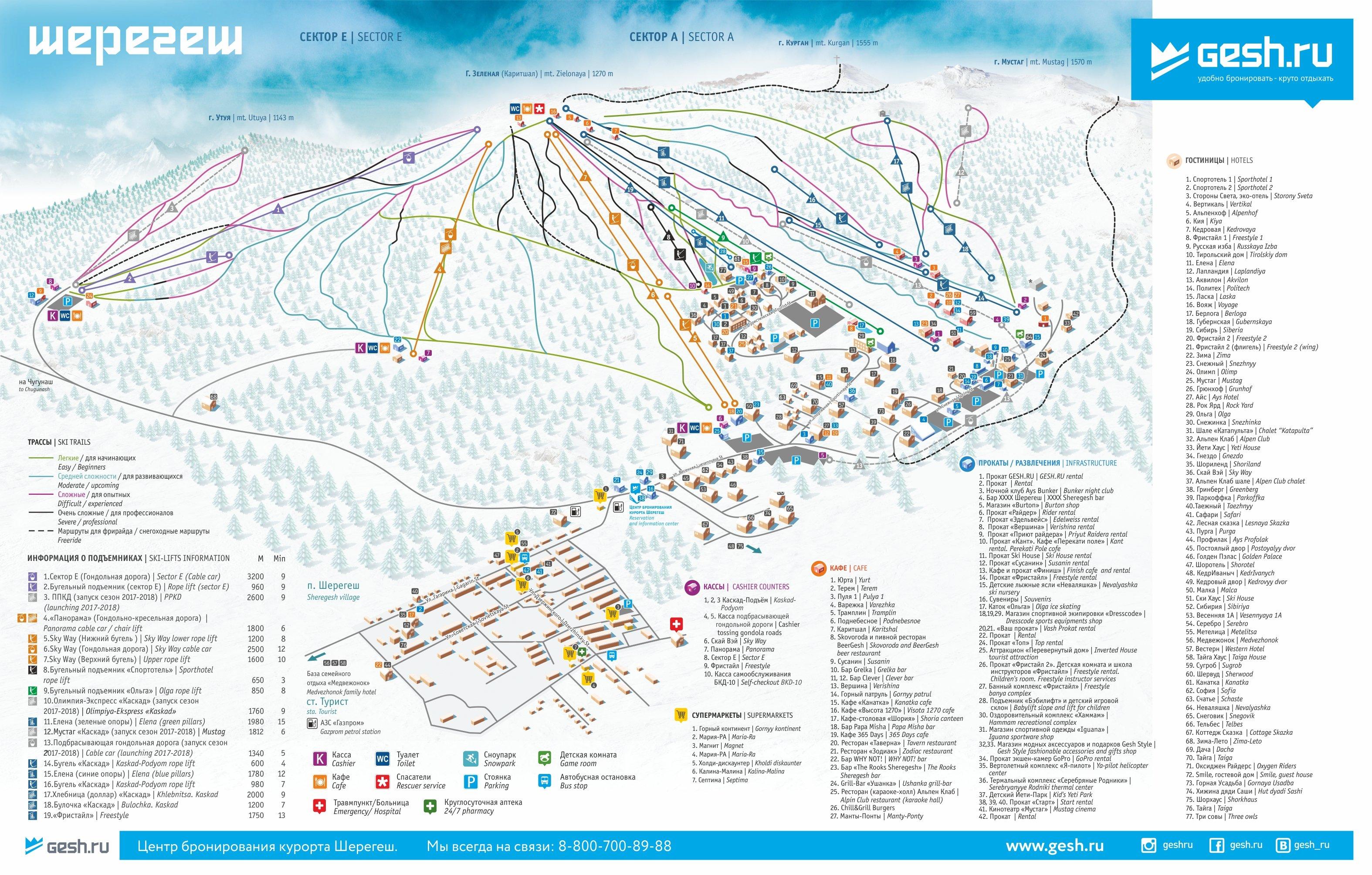 Sheregesh Piste / Trail Map