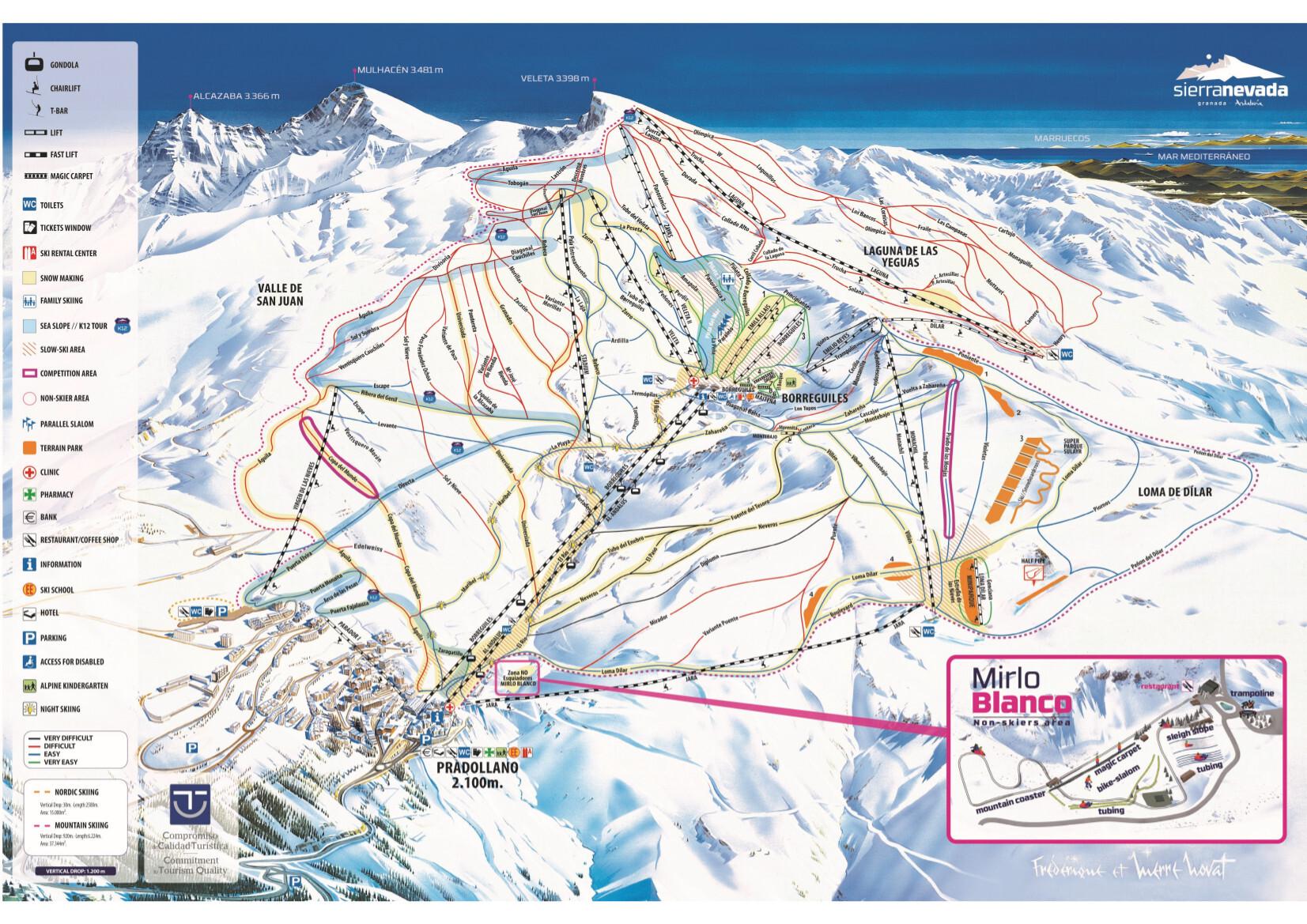 serra nevada mapa Sierra Nevada Piste Map / Trail Map serra nevada mapa