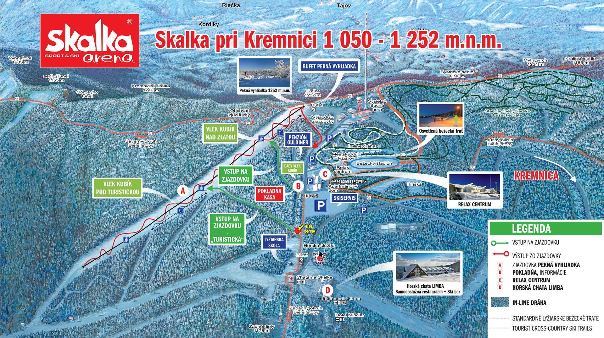 Skalka pri Kremnici Piste / Trail Map