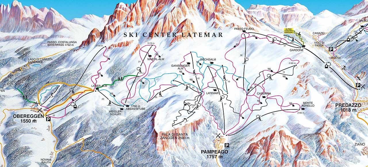 Ski Center Latemar Piste / Trail Map