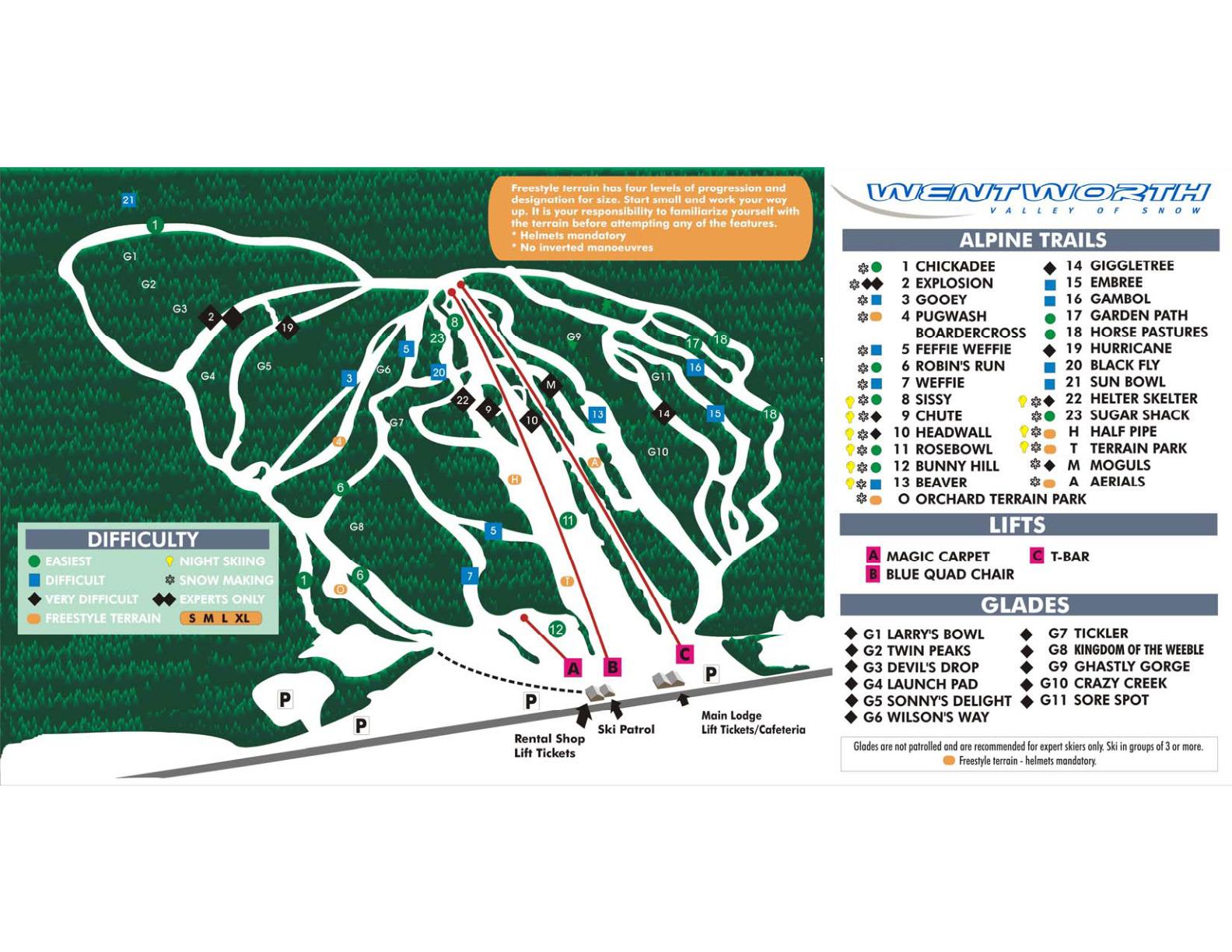 Ski Wentworth Piste / Trail Map
