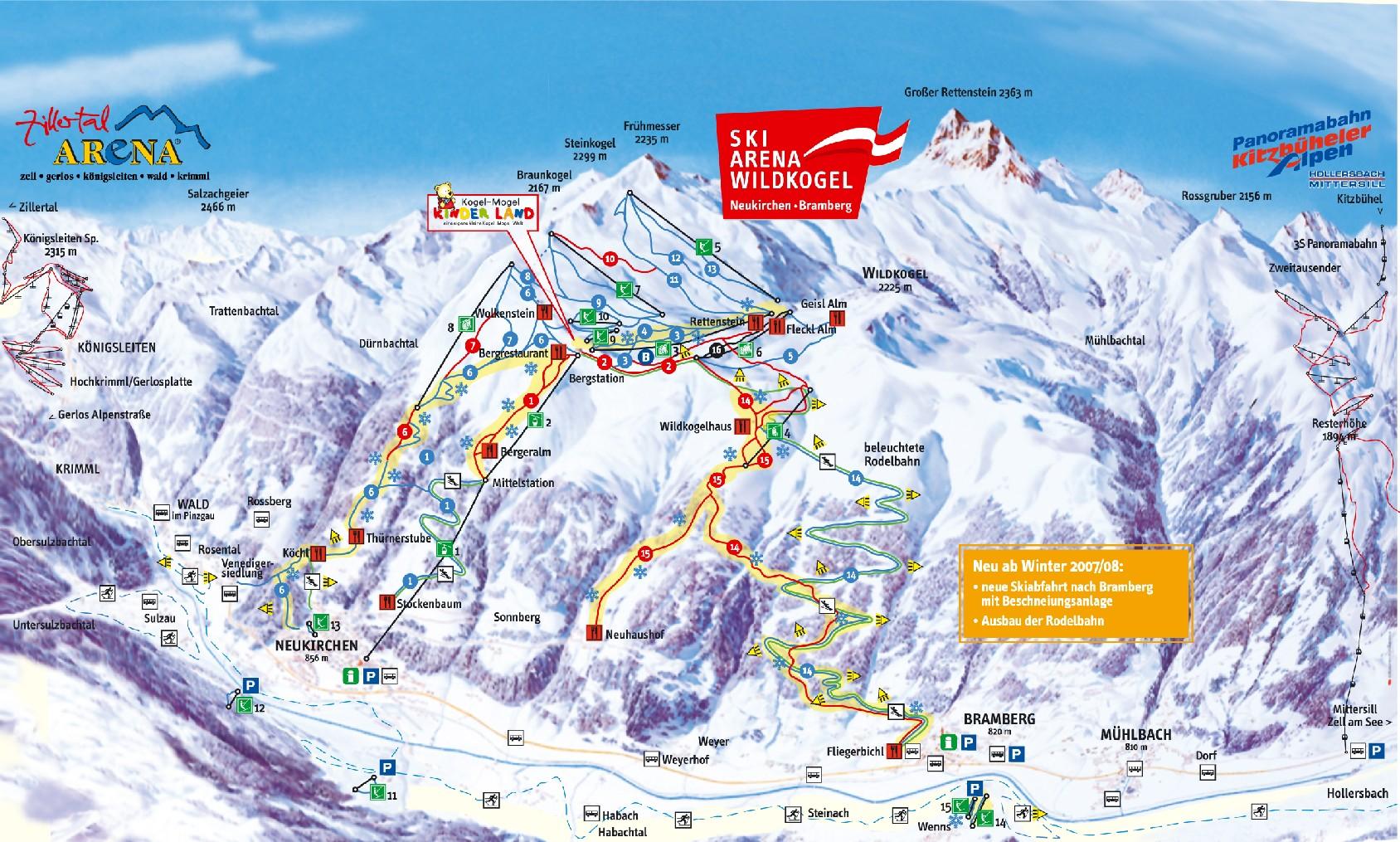Neukirchen/Bramberg-Ski-Arena Wildkogel Piste / Trail Map