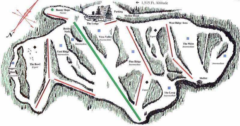 Skyline Ski Resort Piste Map Trail Map
