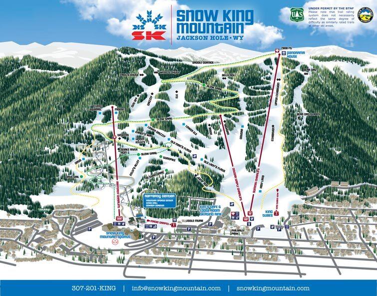 Snow King Mountain, Jackson Piste / Trail Map
