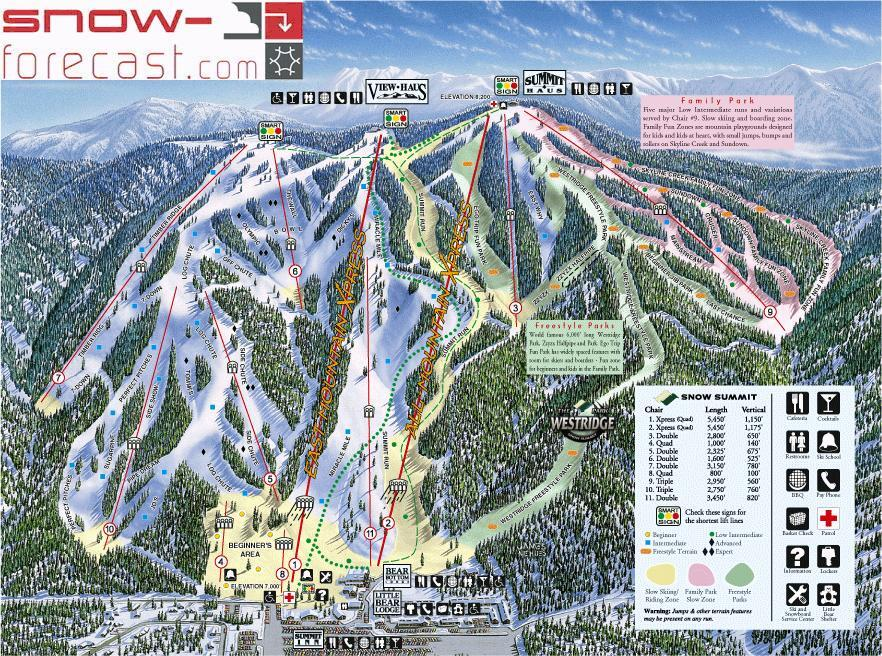 Skiing In California Map.Snow Summit Ski Resort Guide Location Map Snow Summit Ski Holiday