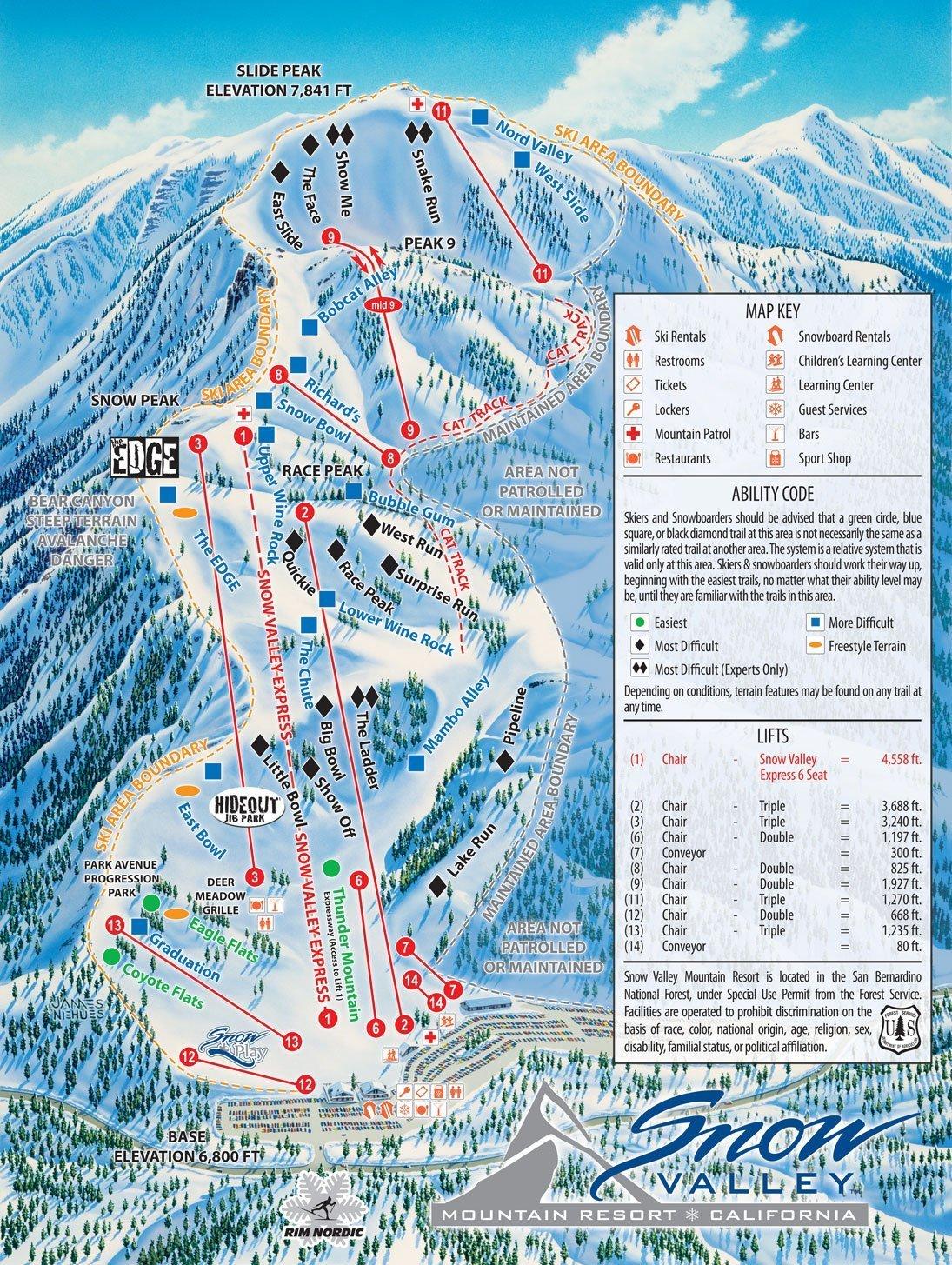 Snow Valley Ski Resort Piste / Trail Map
