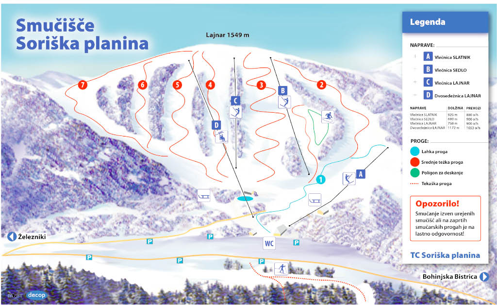 Soriska Planina Piste / Trail Map