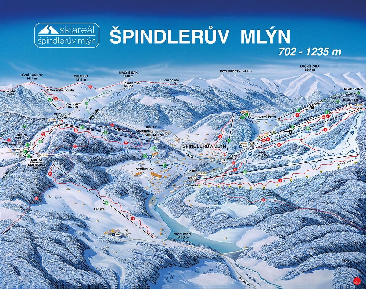 Špindlerův Mlýn - Svatý Petr Piste / Trail Map