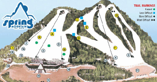 Spring Mountain Ski Area Piste / Trail Map