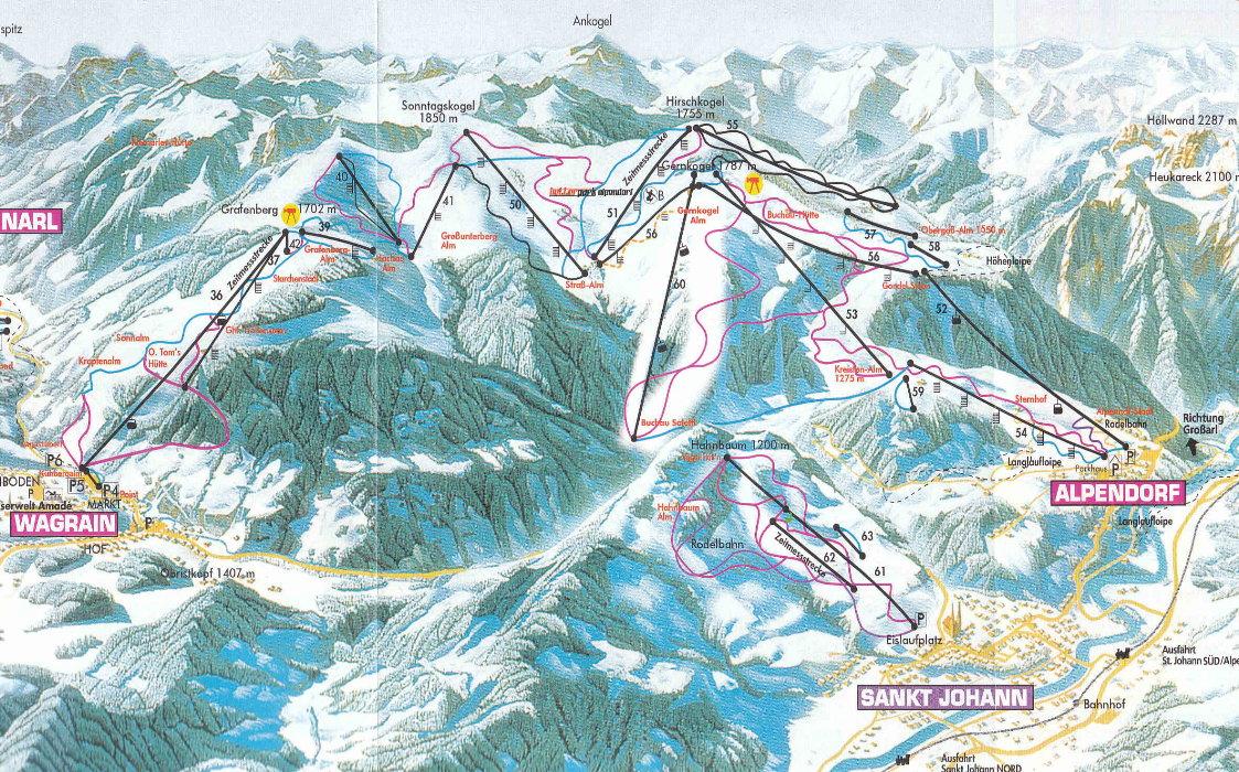 St Johann-Alpendorf Piste / Trail Map
