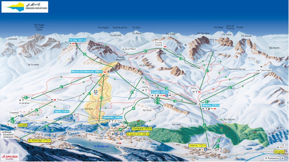 St Moritz Ski Resort Guide Location Map St Moritz ski holiday