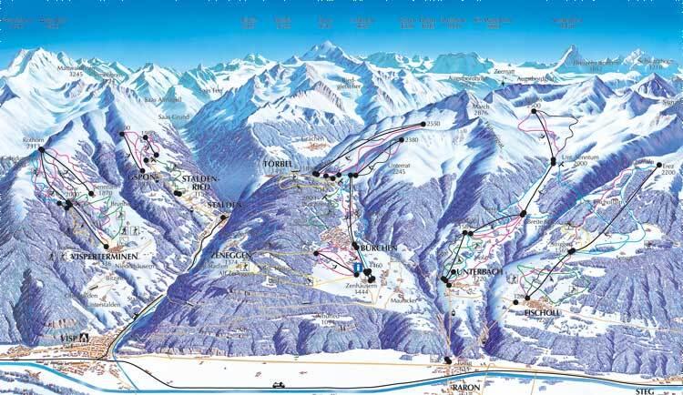 Staldenried - Gspon Piste / Trail Map