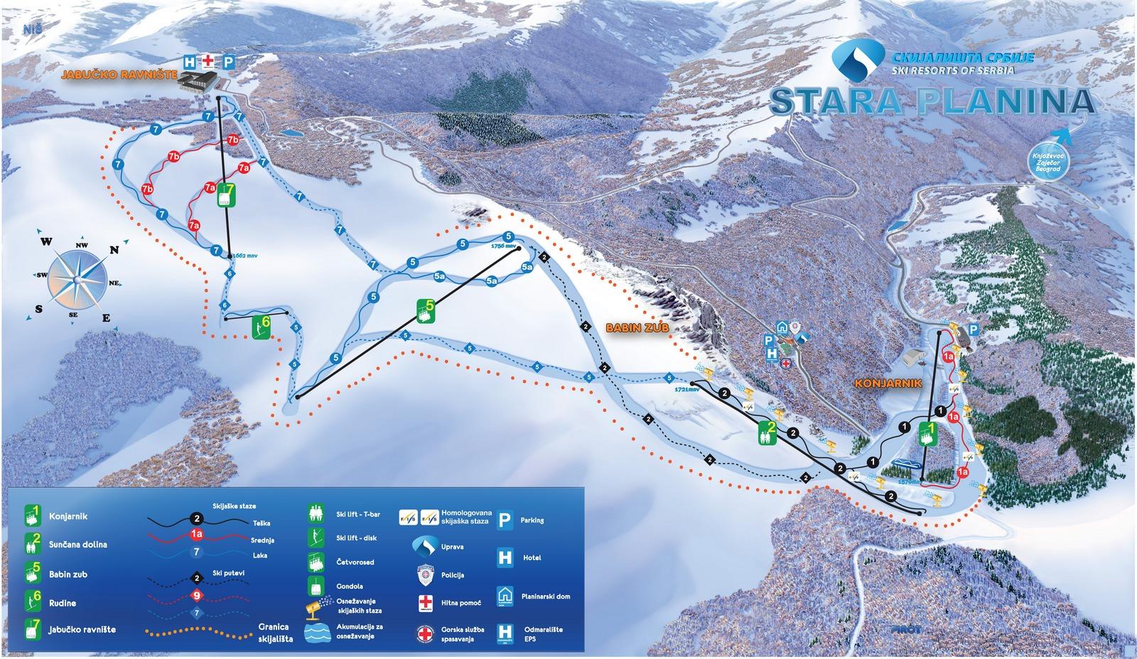 stara planina mapa Stara Planina/Babin Zub Piste Map / Trail Map (high res.) stara planina mapa