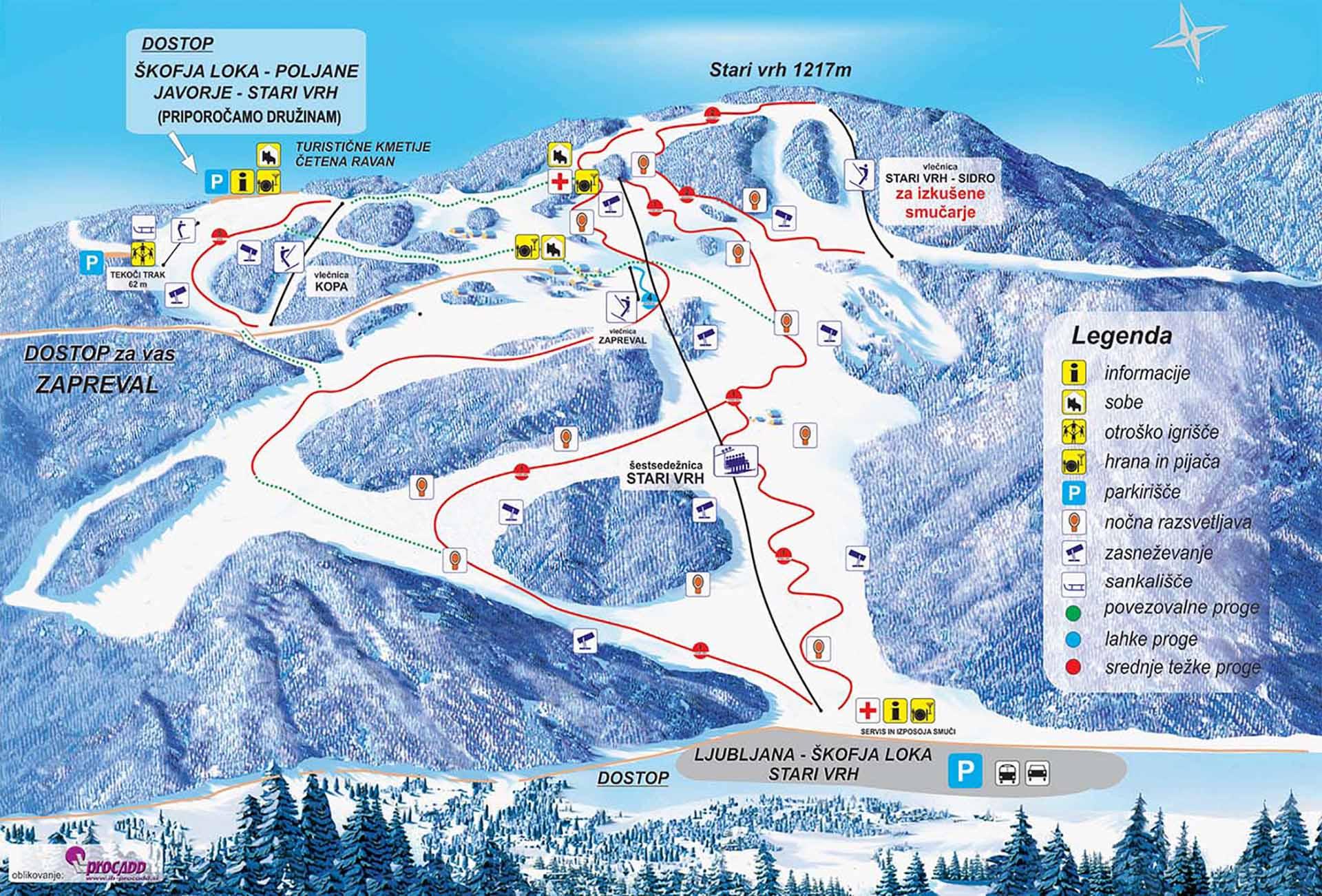 Stari Vrh Piste / Trail Map