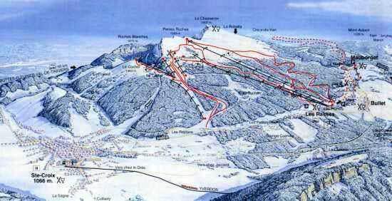 Ste-Croix / Les Rasses Piste / Trail Map