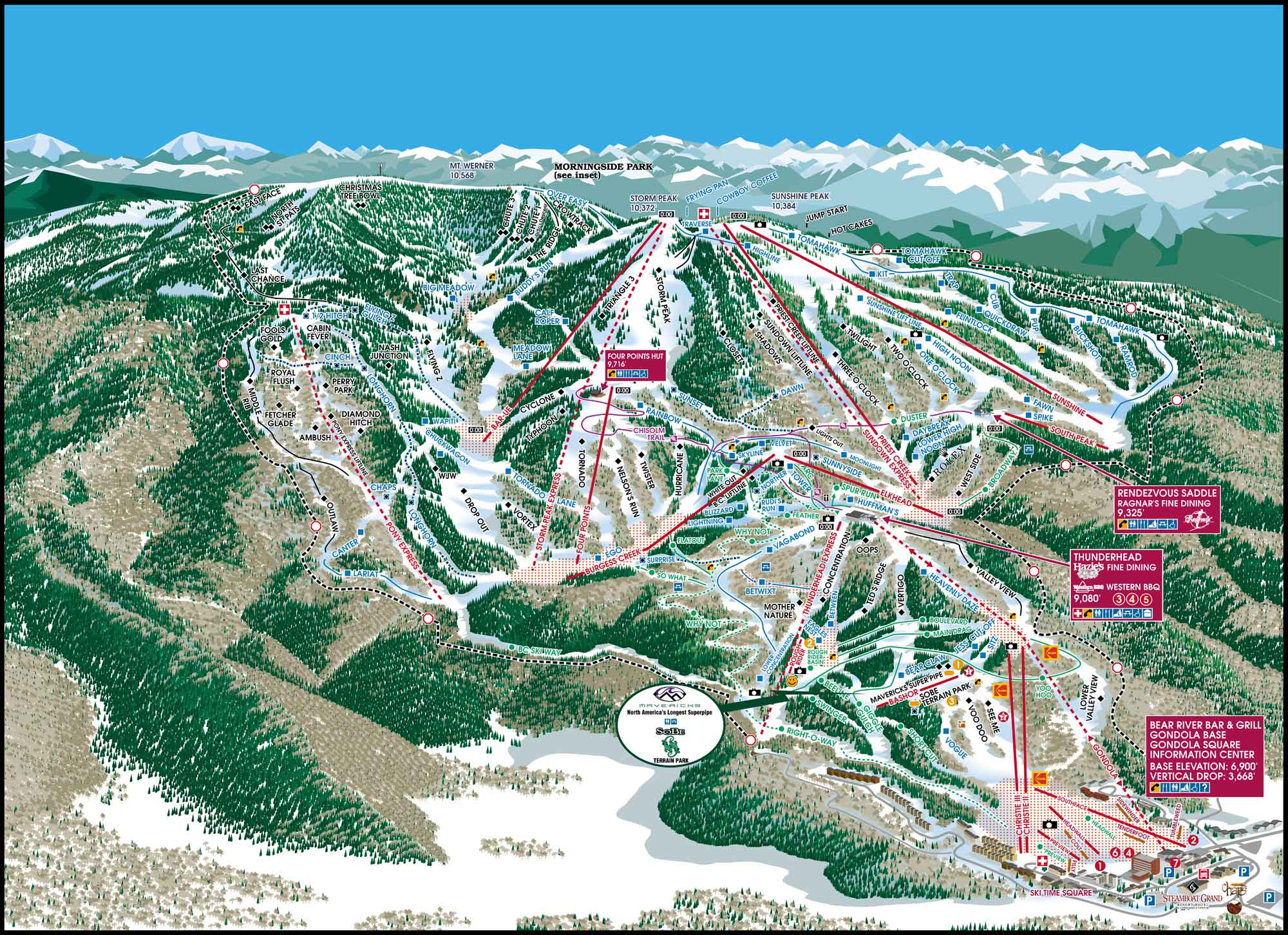 Steamboat Piste / Trail Map