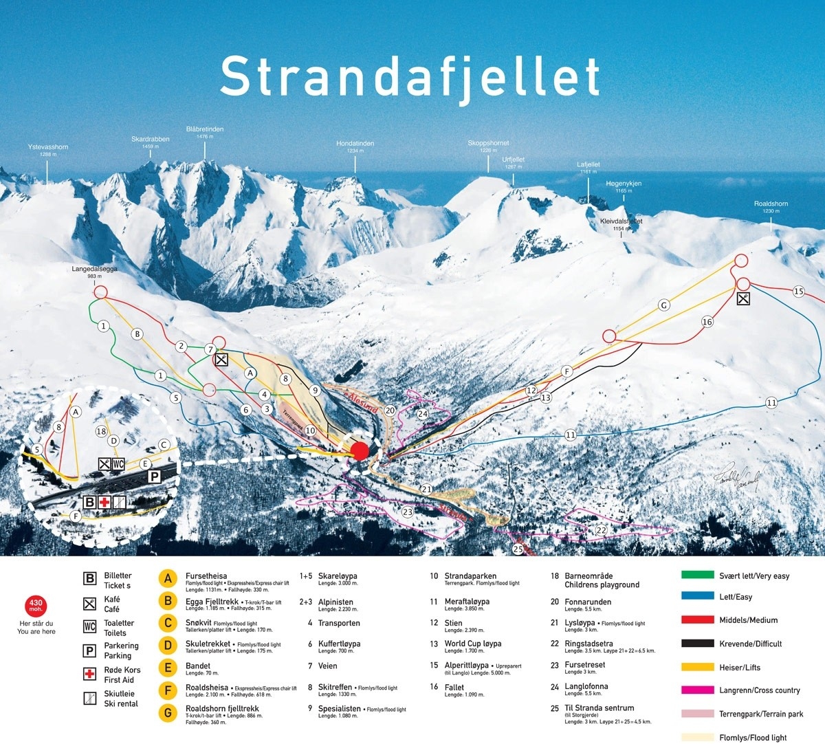 Strandafjellet Piste / Trail Map